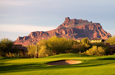 photo of golf course and mountain in Arizona
